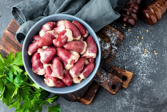 raw dog food diet chicken hearts